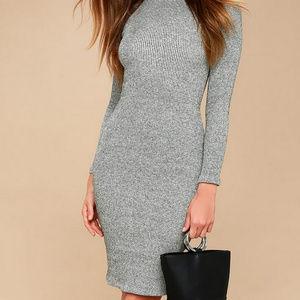 Lulu's I Mist You Gray Mockneck Sweater Dress NWT